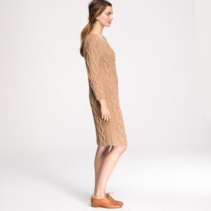 JCrew Collection Tan Cable Knit Wool Sweater Dress